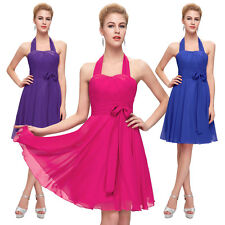 GK Halter Chiffon Short Cocktail Evening Prom Party Dress Ball Bridesmaid Gown