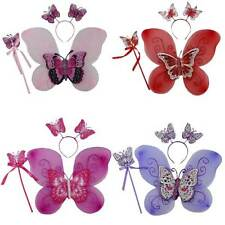 FAIRY WINGS 3PC DRESS UP SET WINGS, TIARA, WAND FEATURING BUTTERFLIES BRAND NEW