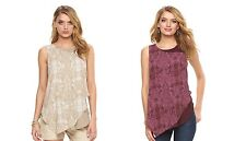 NEW! Juicy Couture Textured Asymmetrical Chiffon Layered Tank Blouse Top