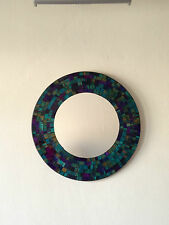 Round Mosaic Mirror. Hand Made. Purple Or Turquoise.