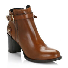 Tommy Hilfiger Womens Ankle Boots Cognac Brown Penelope 3A Leather Heeled Shoes