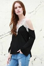 women sweet v neck laced long sleeve t shirt balck