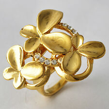 Womens Ladys Gold Filled Butterfly Flower CZ Ring Fashion Jewelry Size 7 8 9