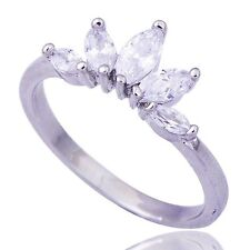 Fabulous Womens Cubic Zirconia Pretty Crown Ring White Gold Filled Size 6 7 8.25