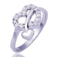 Rare White Gold Filled Womens Pretty Cubic Zirconia Ring Size 5 6.25 7.25 8.75