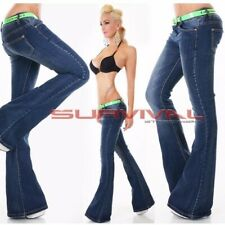 Womens New Jeans Blue Washed Flare Cut Sexy Low Rise Hipster Size 8