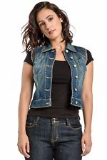 Standards & Practices Women's Stretch Denim Blue Blasted Sleeveless Cropped Vest