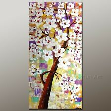 Framed Handmade Modern Wall Art Canvas Floral Decor Abstract Knife Oil Painting