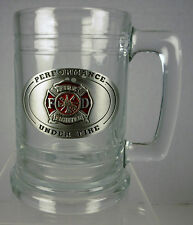 "Fire Department ""Performance Under Fire"" Clear Glass Beer Stien / Mug"