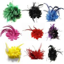 Beauty Flower Feather Brooch Fascinator Corsage Wedding Ball Head Hair Clip Chic