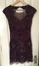 Miss Selfridge Great Gatsby Embellished Burgundy/Red Cocktail/ Evening Dress 8