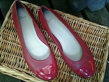 CLARKS  Ladies shoes, red leather, uk size 8