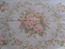 2 Vintage Dan River Queen Pillowcases Blue w/ White Dots Pink Roses Floral PAIR