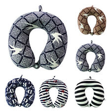 Memory Foam Check Stripe Letter U Shaped Travel Pillow Neck Support Cushion Gift