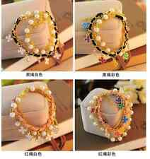Lovely Women Cute Bracelet Personality Beaded Leather Cord Bracelet Bangle Gift