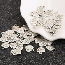 50Pcs Silver/Gold Plated MADE WITH LOVE Heart Charms Pendants Beads Jewelry Upo
