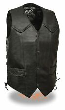 Mens Very Thin & Lightweight Black Side Lace Braided Leather Vest w/ Snap Front