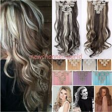 Real 8PC 18 Clips Clip In Hair Extension for human Hairpiece straight curly wavy