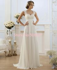 White/Ivory Chiffon A-Line Lace Bridal Gown Wedding Dress Stock Size6-16 DH012