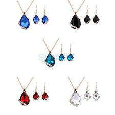 Fashion Women Wedding Teardrop Rhinestone Crystal Necklace Earrings Jewelry Set
