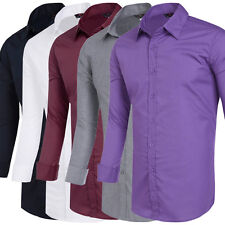 Men's Stylish Slim Fit Long Sleeve Shirt Solid Color Casual Tops Dress Shirts
