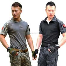 Men Military Tactical Camouflage Camo T-shirt Army Combat Hunting Quick Dry Tee