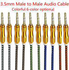 1M/3FT 3.5mm Male to Male AUX Auxiliary Braided Cable Stereo Audio Adapters Lot