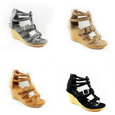 NEW WOMEN'S LADIES STRAPPY PLATFORM HIGH WEDGE HEEL SANDALS SHOES SIZE 3-7