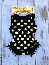 Baby Black Gold Romper- Gold Polka Dot Romper- Gold First Birthday Outfit