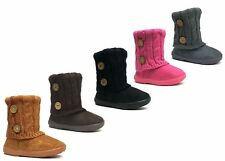 New Kids Toddler Girls Boots Cute 2 buttons Faux Fur Suede Knitting Shoes--285