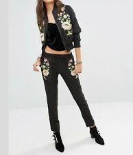 New Womens Floral Embroidered Elastic Waist Black Skinny Pencil Trousers Pants