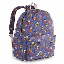 New Canvas Owl Backpack School Students Shoulder Bag College Cute Backpack