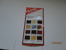 1982 AMC  Jeep  paint colors chart   dealer  brochure