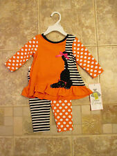 NWT Girls, 6M, 9M, 2/2T, 5, RARE EDITIONS Halloween 3D Kitty Cat Leggings Outfit