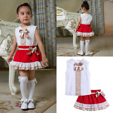 Girls Summer Outfit Party Princess Clothes Kids White Top + Red Skater Skirt Set