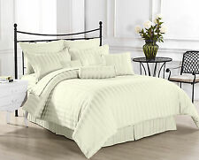 (IVORY STRIPE) 1000TC COMPLETE BEDDING COLLECTION 100% EGYPTIAN COTTON ALL SIZE