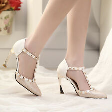 Sexy Rivet high heels stilleto pointed toe Buckle heels party prom shoes