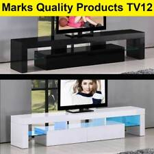 TV Entertainment Unit Stand Gloss Cabinet LED Lowline Shelf TV12 White & Black