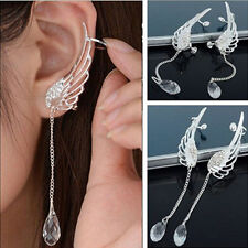 Women Lady Angel Wing Crystal Earrings Drop Dangle Ear Stud Cool Cuff Clip New