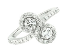 Women's 14K White Gold 2-Stone Cluster Real Diamonds Engagement Ring 1.05ct