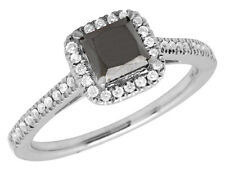 14K White Gold Black Treated Princess Diamond Solitaire Engagement Ring 1.0 Ct