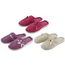 Ladies Forever Dreaming Mule Slippers Heart Diamante & Satin Bow In 3 Colours