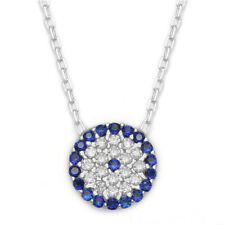 18K Gold Sterling Silver CZ Cubic Zirconia Evil Eye Greek Mati Nazar Necklace
