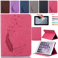 Luxury Feather Card Wallet PU Leather Case Cover For Various iPad Samsung Tablet