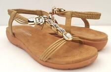 STUNNING 7.8.9.10.11 Diamante Beaded DRESS SANDALS Low Heels ANKLE STRAP Shoes