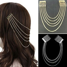 Women's Fashion Gold Metal Head Chain Leaves Comb Headband Headpiece Hair Band