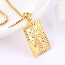 Womens love long Necklace Dragon pendant fashion jewelry Yellow gold filled
