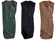 New Womens Ladies Plus Size Sleeveless Buckle Blouse V Neck Wrap Front Top