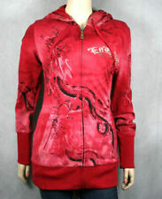 Ed Hardy women's Fitted Tunic Hoodie Diving Dragon Red gold jacket