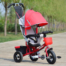 4 In 1 Children Kids Toddlers Tricycle Bike Ride Trike W/ Control Handle&Canopy